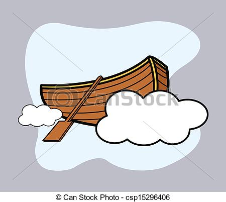 Vector Clipart of Old Wooden Boat Floating Over Cloud.