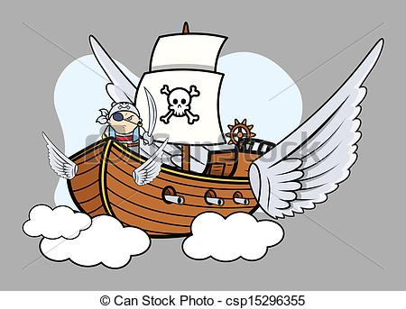 Clipart Vector of Flying Pirate Ship.