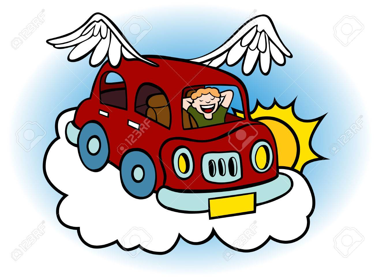 Cartoon of a flying car with wings floating above the clouds..