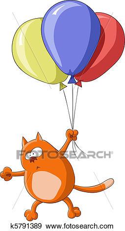 Flying cat Clip Art.