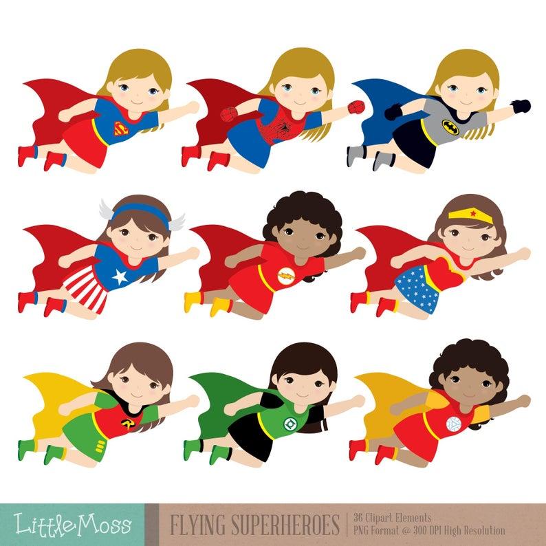 Flying Superhero Clipart, Superheroes Kids Clipart, Superheroes Clipart,  Super Hero Clipart, Superhero Girl.