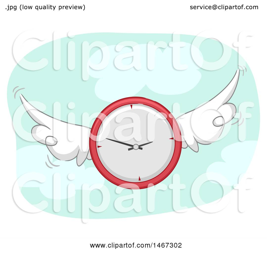 Clipart of a Flying Clock.