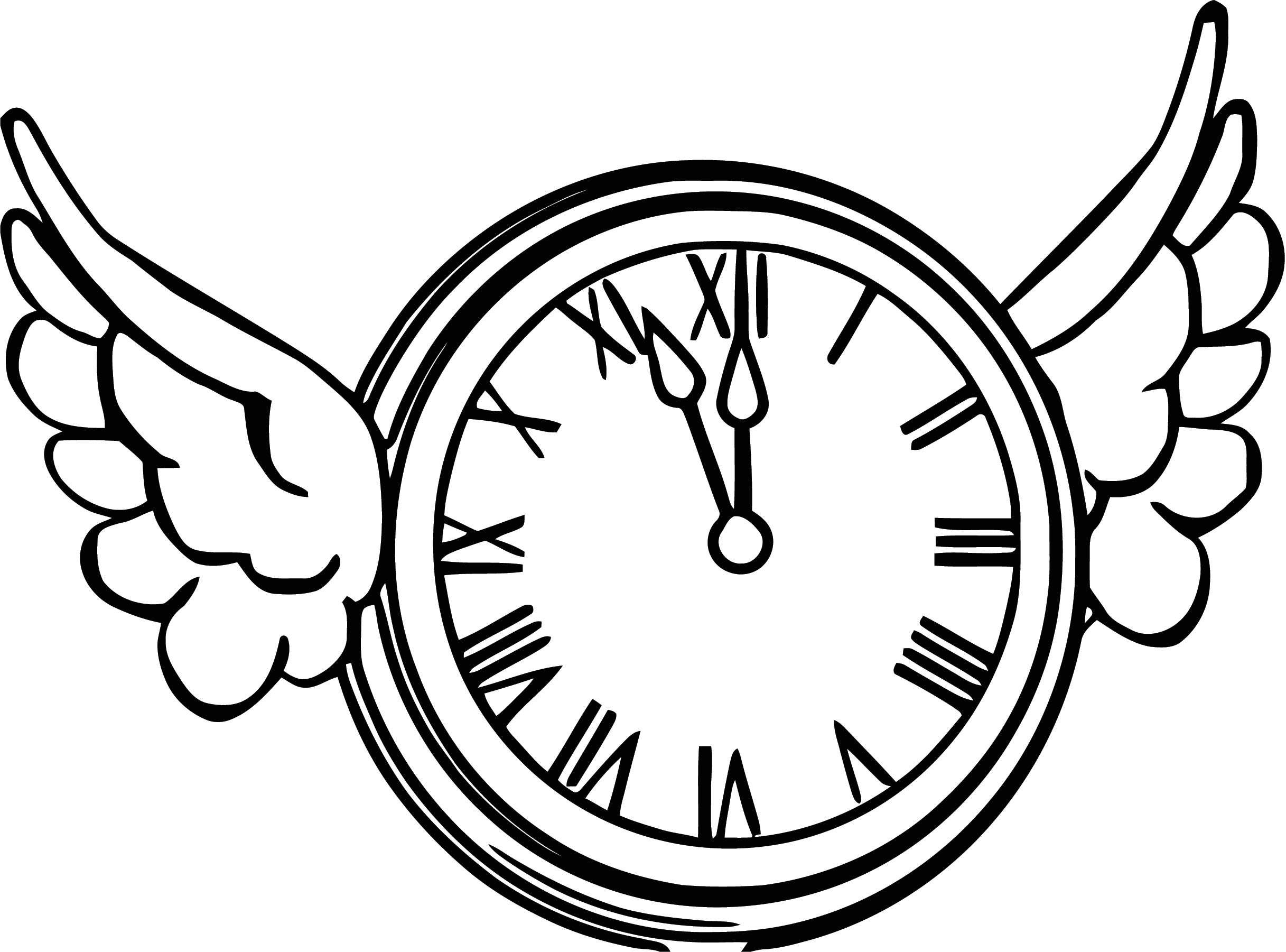 Flying Clock Clipart Free Printable 1 Cartoonized Free Printable.