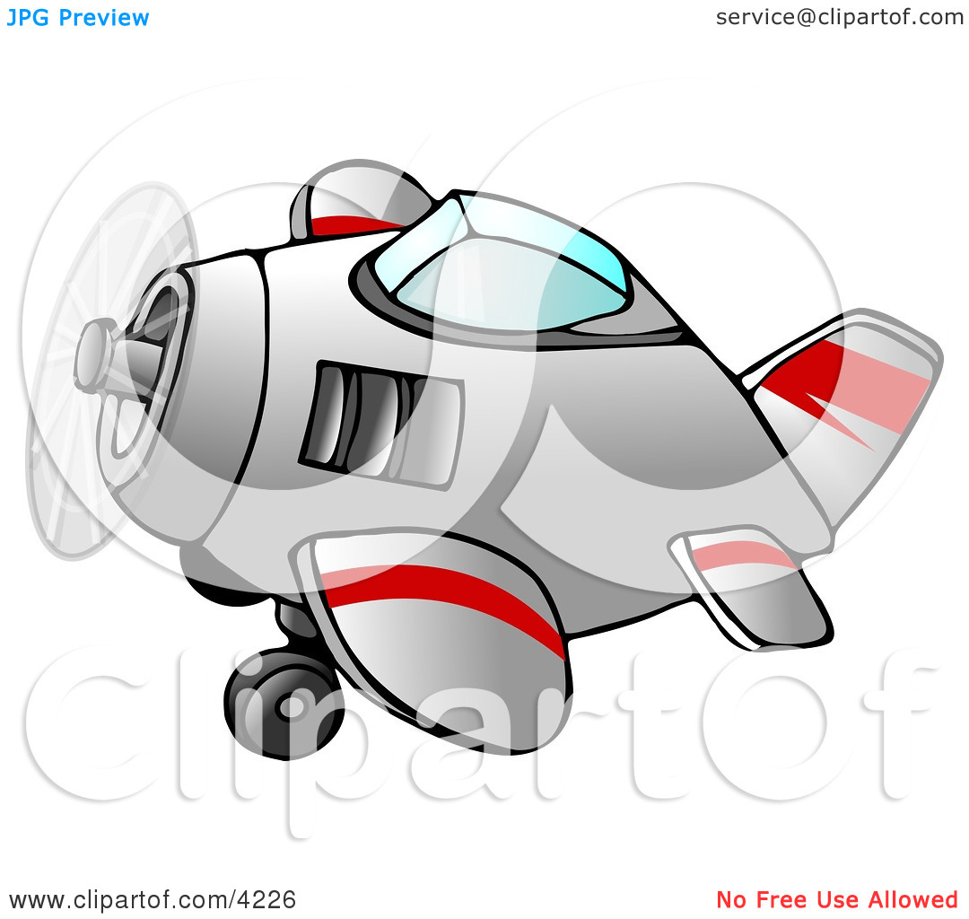 Propelled Airplane in Flight Clipart by Dennis Cox #4226.