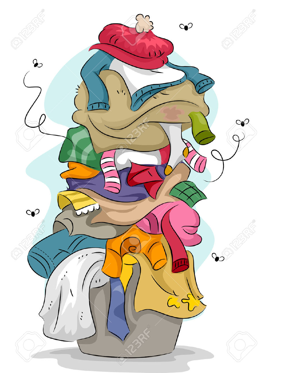 Illustration Of A Pile Of Dirty And Stinky Laundry With Flies.
