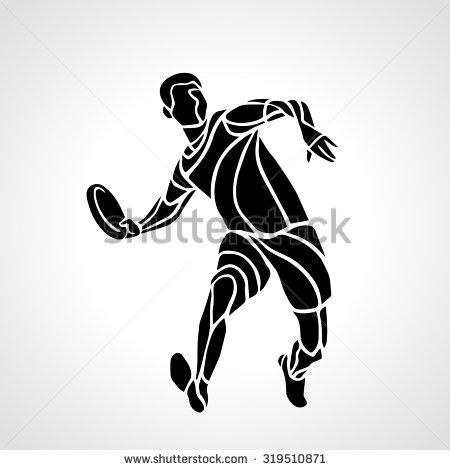 Sportsman Throwing Ultimate Frisbee Flying Disc Stock Vector.