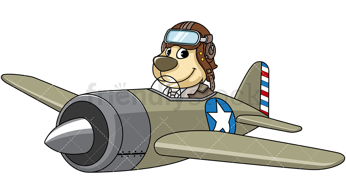 Dog Mascot Character Flying An Airplane.