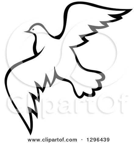 Clipart of a Black and White Flying Dove 10.