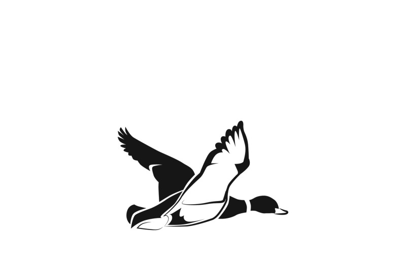 Flying duck silhouette or hunting target vector icon By.