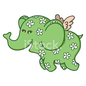 Cute doodle flying elephant. Clipart Image.