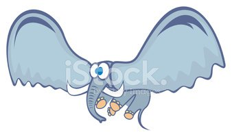 Flying Elephant Stock Vector.