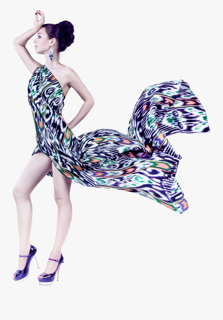 Young Woman In Fashion Flying Fabric Dress Png Image.