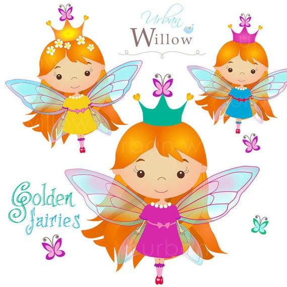 Fairy Clipart, Cute Flying fairies, Fairy with Golden Hair, Orange Haired  Fairy, Magical clipart, Digital Clipart Fairy Dust.