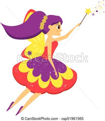 Beautiful flying fairy flapping magic wand. Elf princess. Cartoon style.