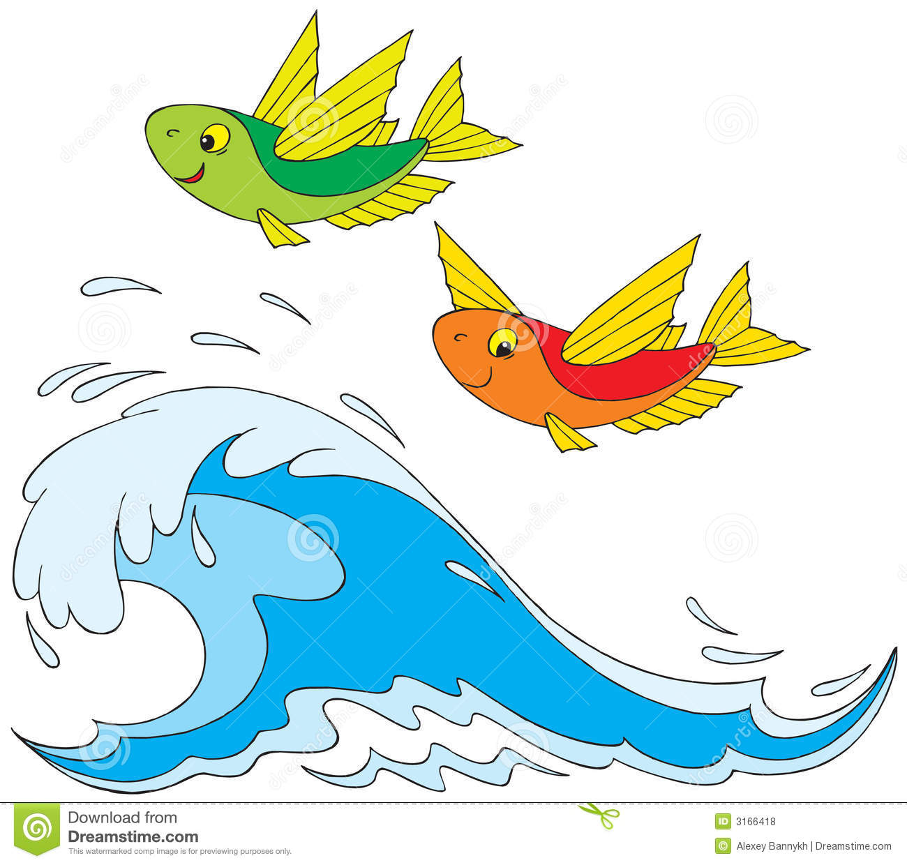 Clipart flying fish.
