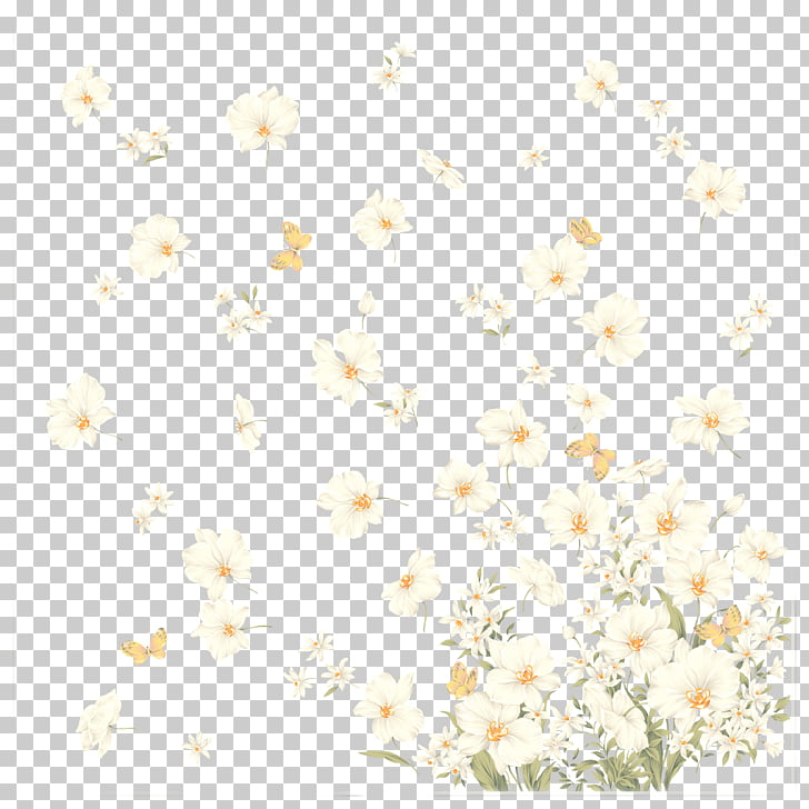 Flying Flowers, white flowers PNG clipart.