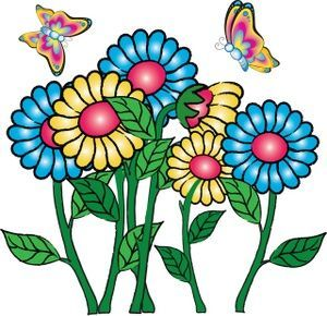 Flowers Clipart Image: Butterflies Flying Around Flowers.