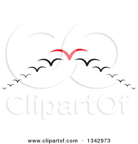 Clipart of a Red Seagull Leading Others in a V Flight Formation.