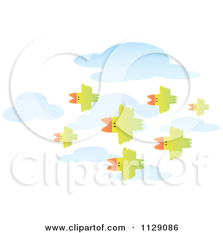Cartoon Of Green Birds Flying In Formation Over Clouds.