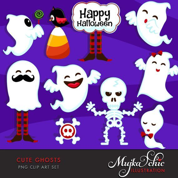 Halloween Cute Ghosts Clipart. Halloween graphics, ghosts.