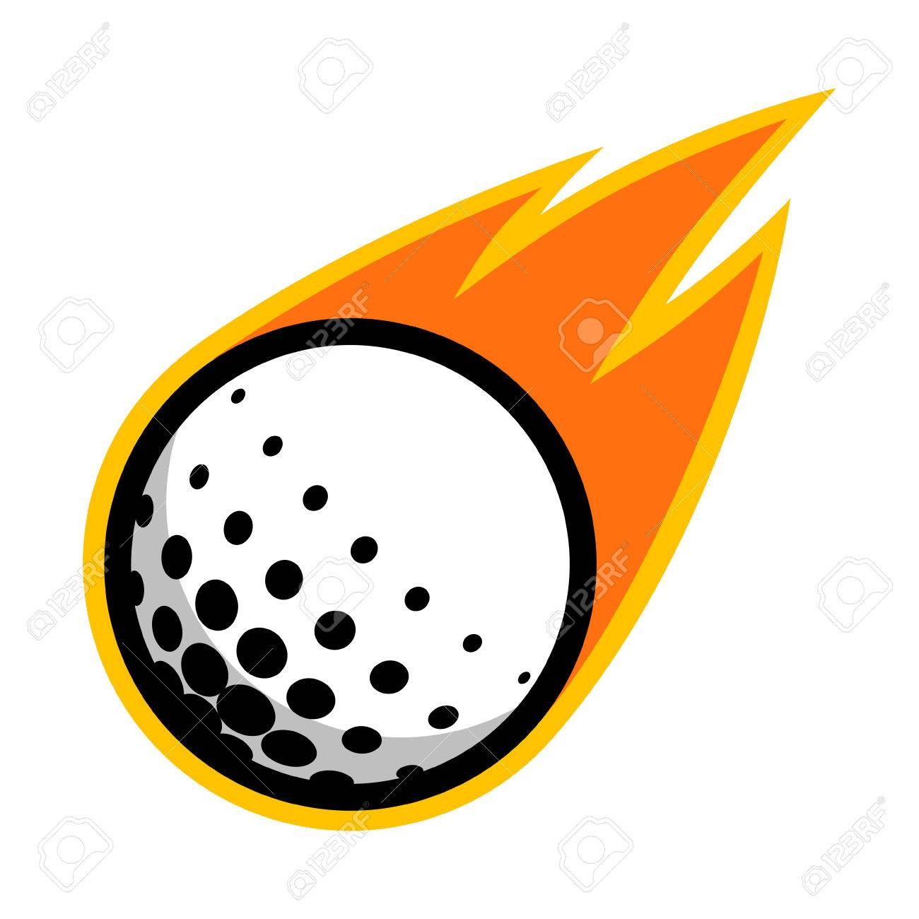 Golf sport ball comet fire tail flying logo.