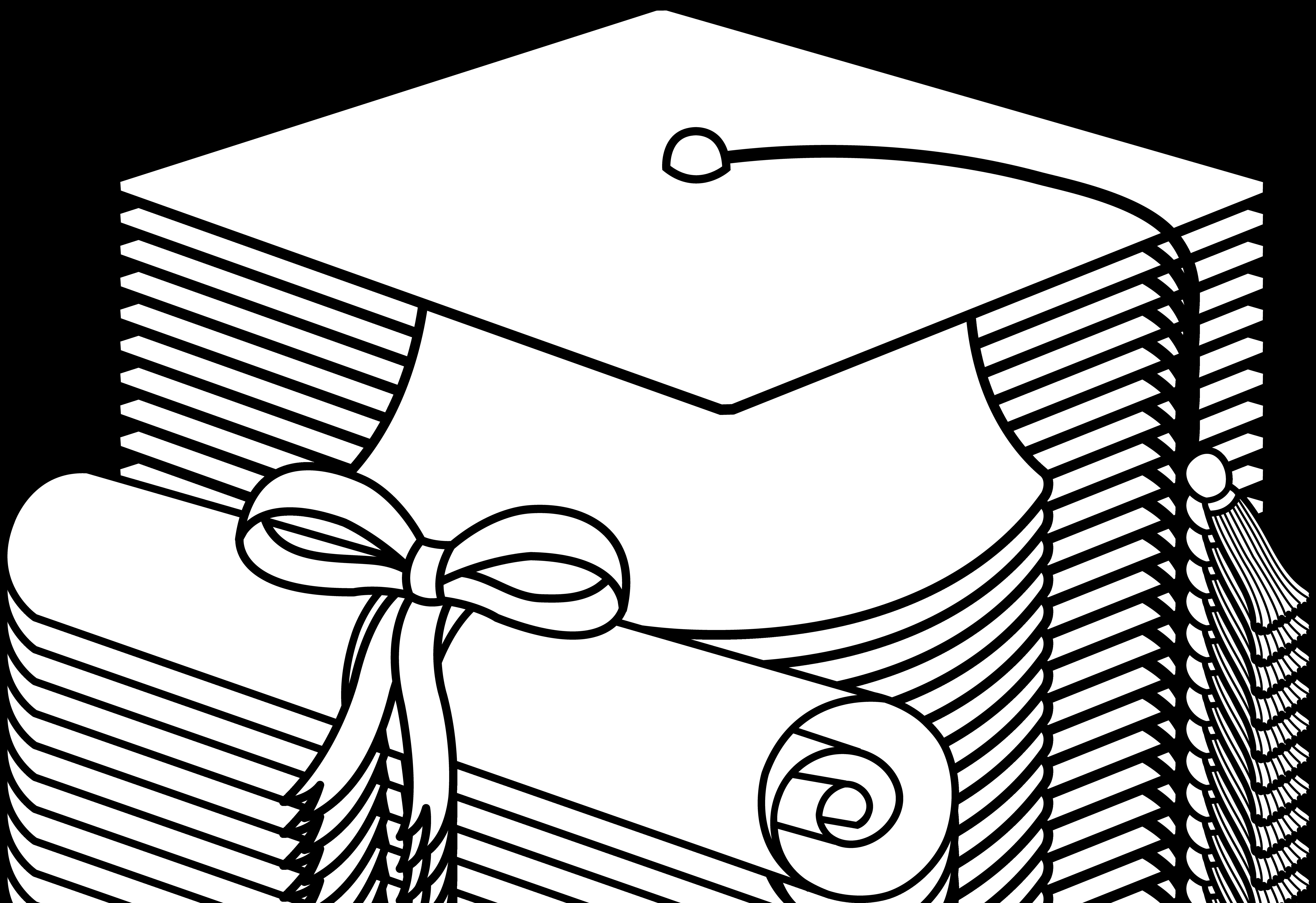 Flying Graduation Caps Clip Art.