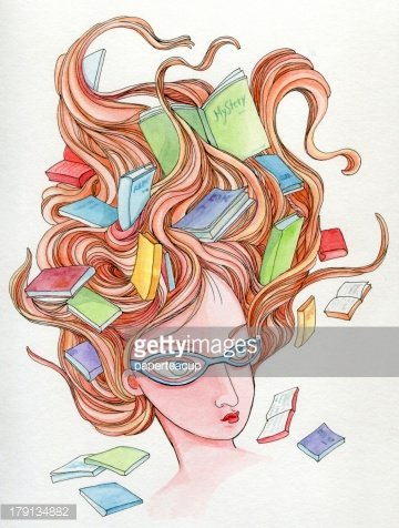 Young girl with flying books on her hair Clipart Image.