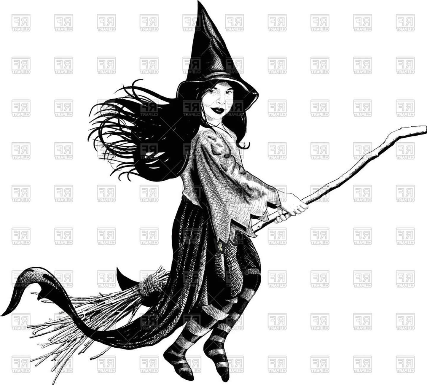 Little Witch Flying On Her Broom Develop Her Dress And Hair.