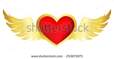 Flying Heart Stock Photos, Royalty.