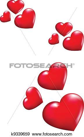 Clip Art of Flying hearts k9339659.