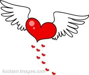 Flying Heart Clip Art.
