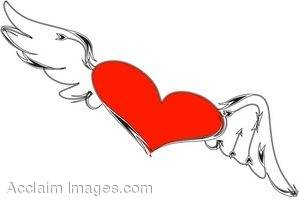 Clipart Illustration of a Flying Heart.