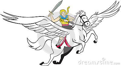 Valkyrie Amazon Warrior Flying Horse Cartoon Stock Illustration.