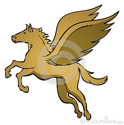 Fly Horse Logo Stock Vector.