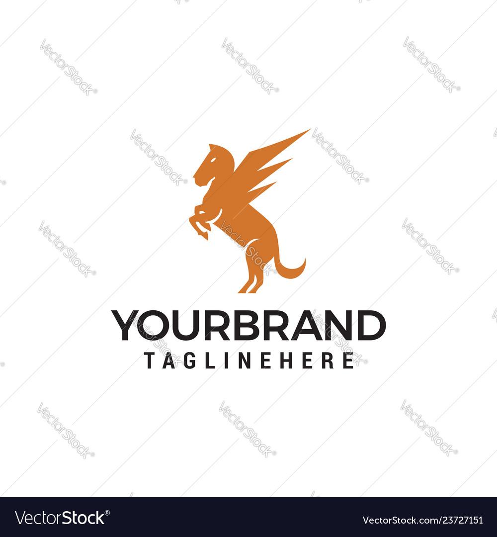 Pegasus flying horse logo design template.