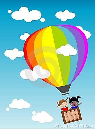 Clipart boy flying in hot air balloon with animals.