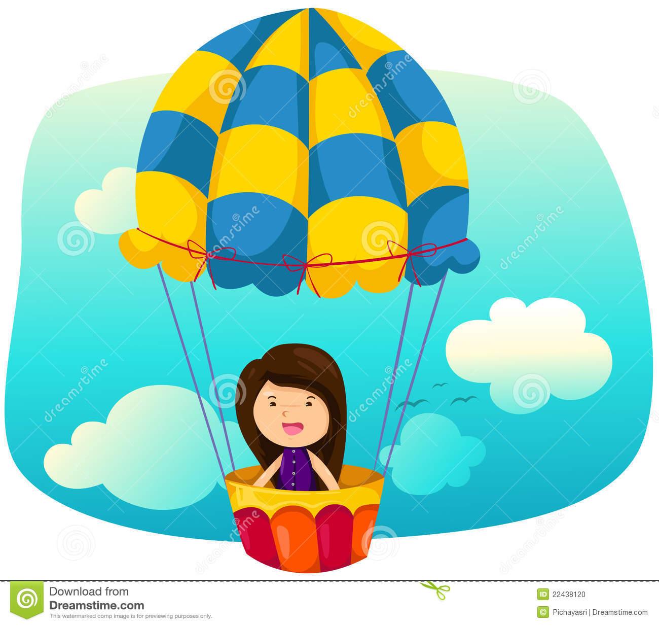 Skyscape Girl Riding Hot Air Balloon Stock Photo.