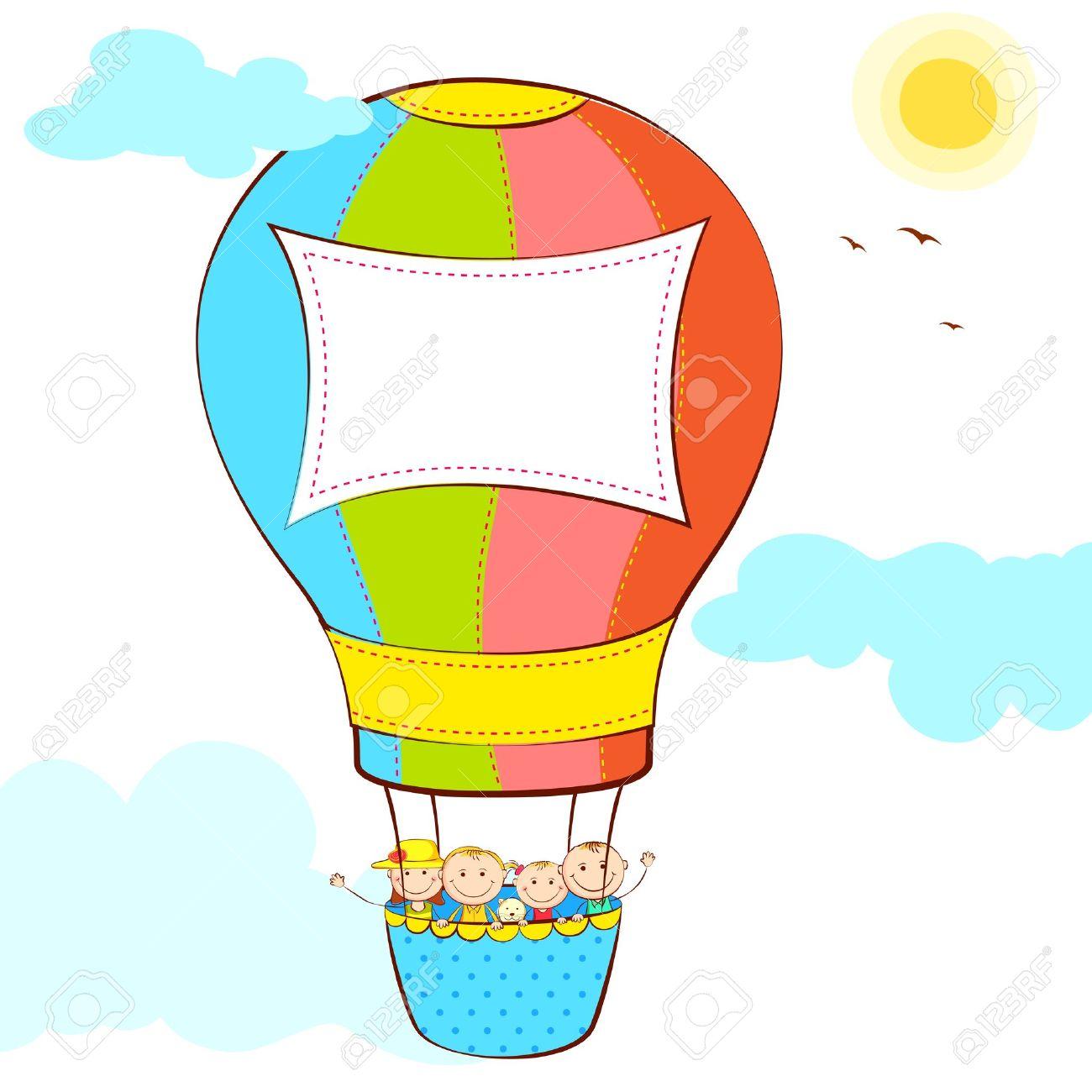 Kids in hot air balloon clipart.