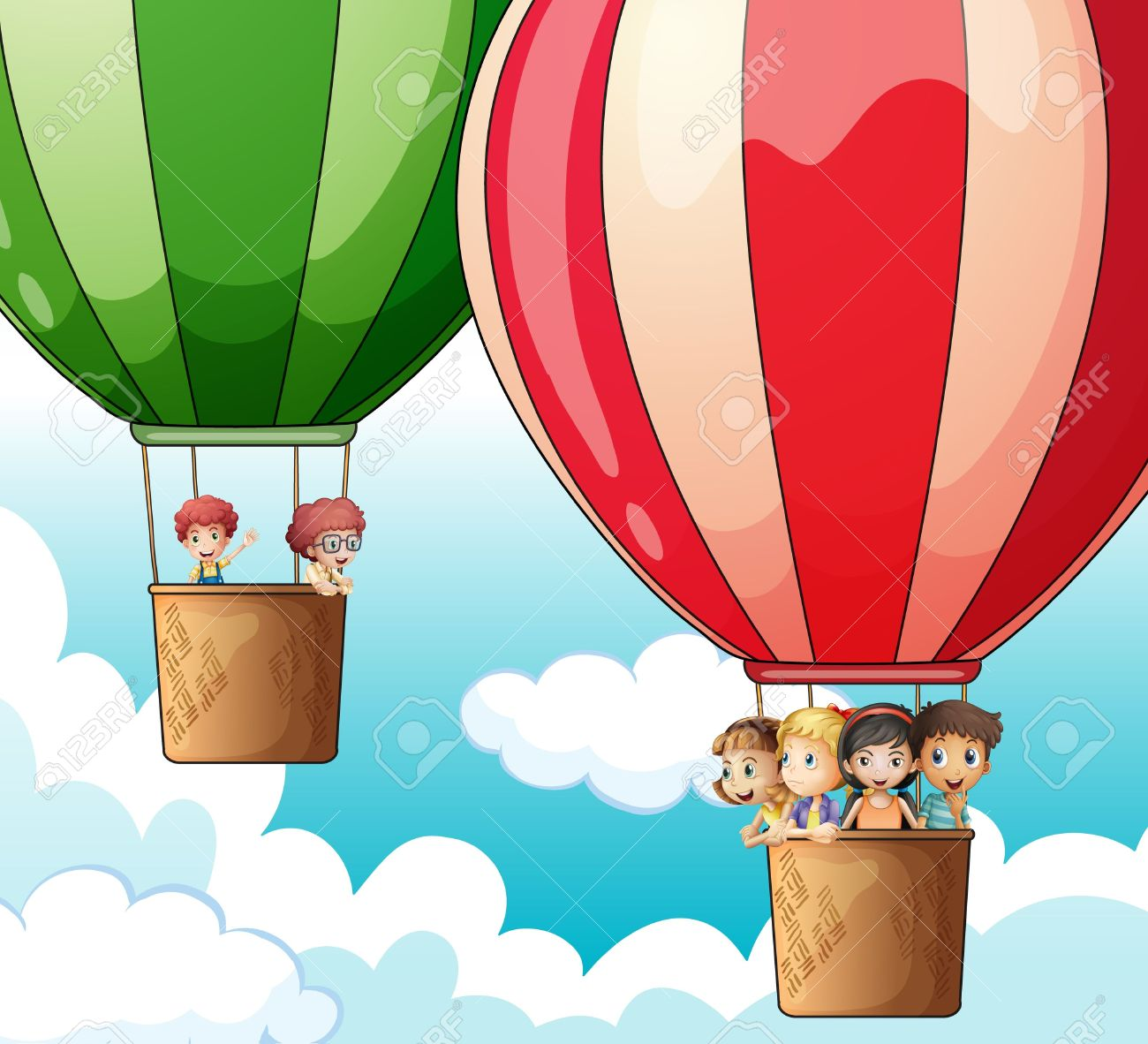Illustration Of Two Hot Air Balloons Flying With Happy Kids.