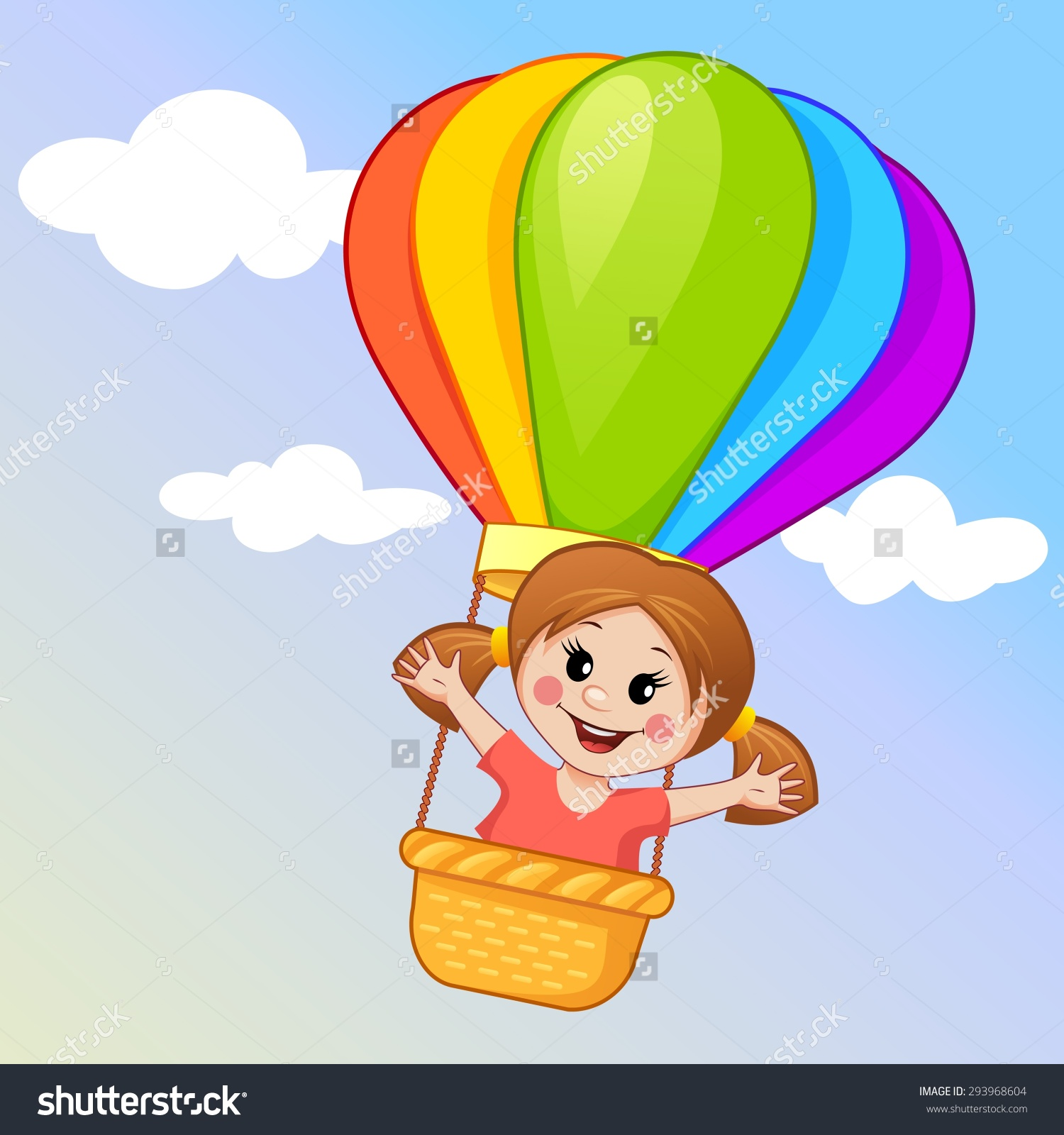 Kids flying with balloon clipart.