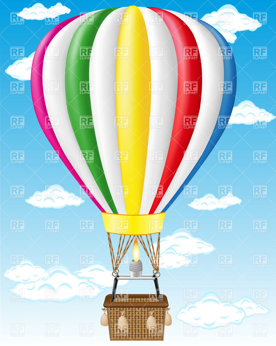 Hot air balloon flying in cloudy blue sky Vector Image #19428.