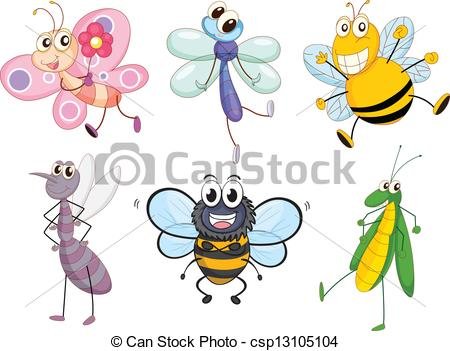 Winged insects clipart.