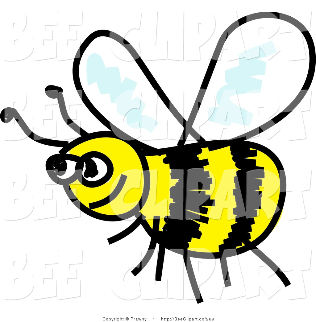Clip Art of a Happy Yellow and Black Flying Honeybee by Prawny.
