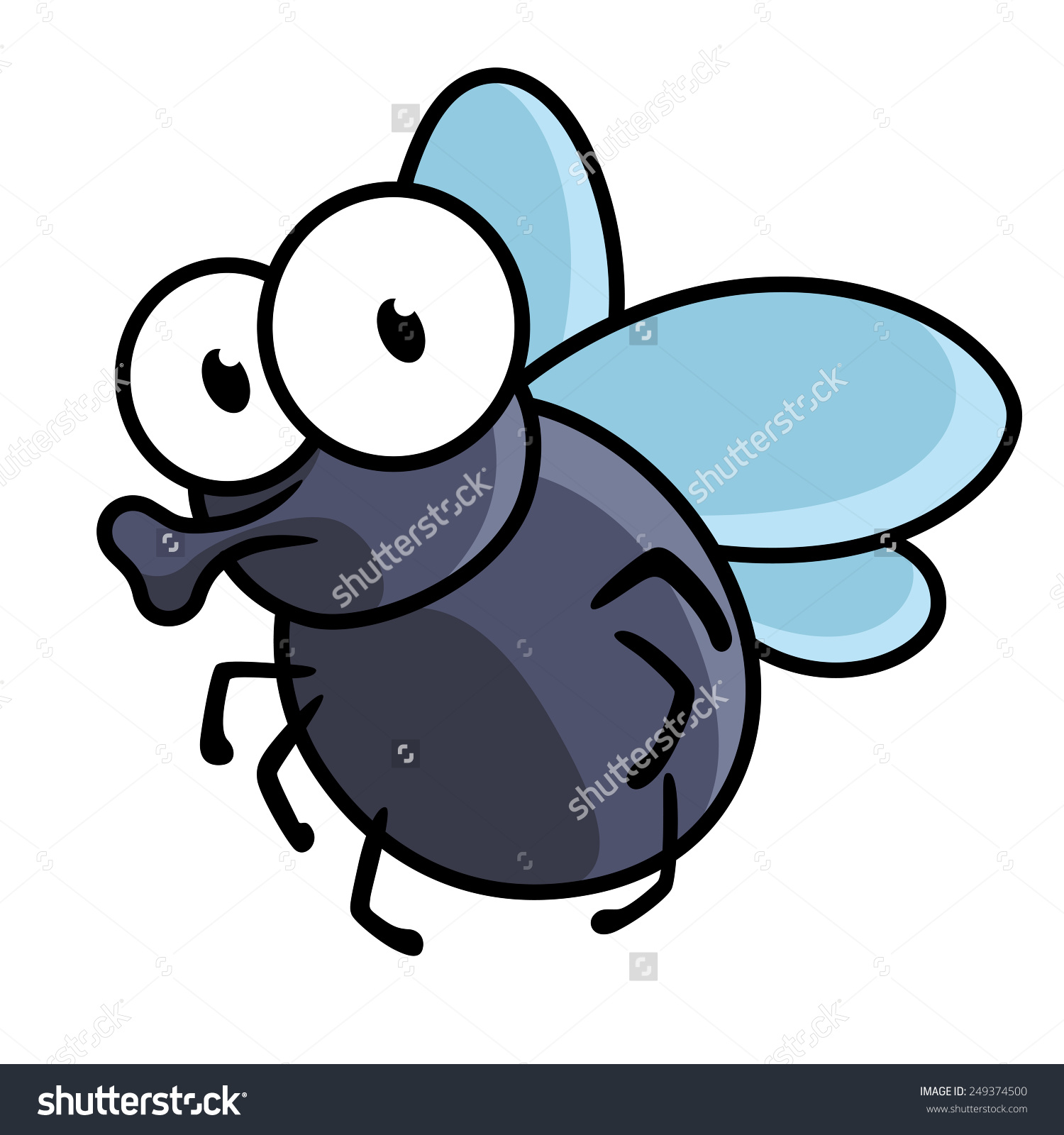 Cute Little Cartoon Fly Insect Blue Stock Vector 249374500.