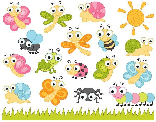 Cute Bugs Clip Art, Insects Clipart, Ladybug, Snail, Dragonfly.
