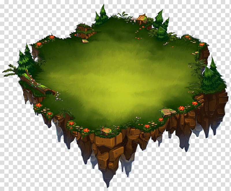 Green and brown floating island illustration, Home Island.