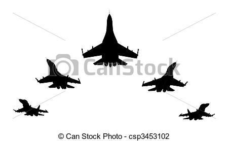 Clip Art of Jet fighters.