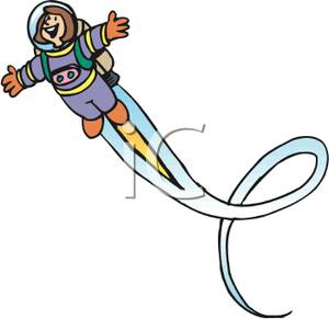 Art Image: An Astronaut Flying with a Jet Pack.