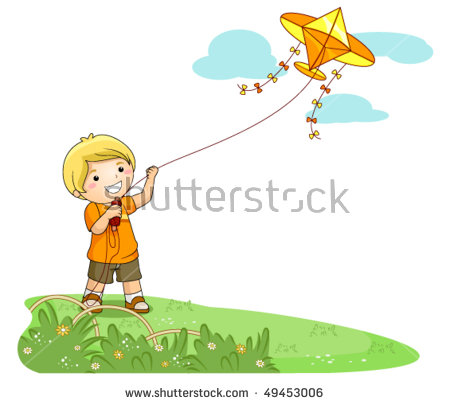 Boy Flying Kite Clipart Stock Photos, Royalty.