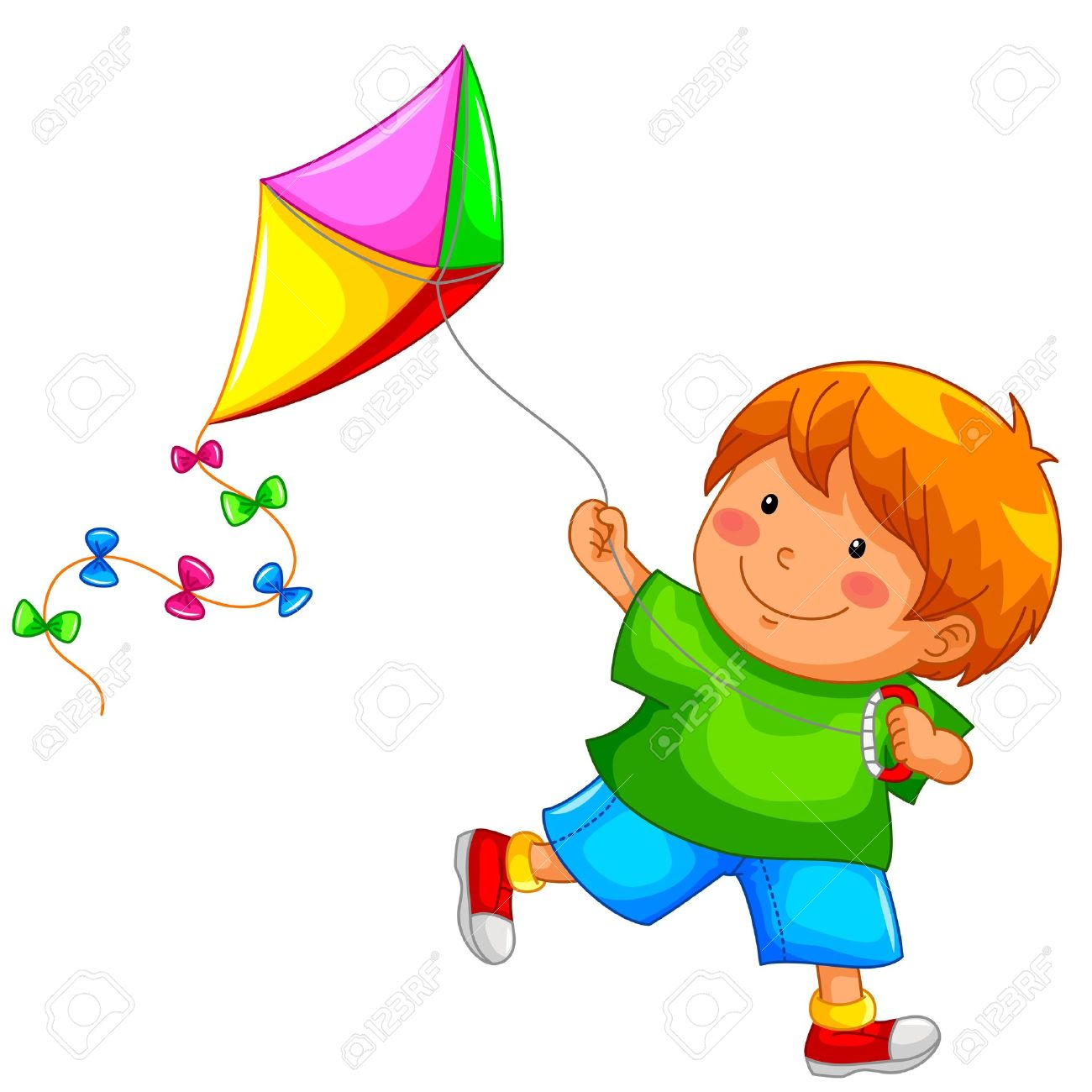 Boy flying kite clipart.
